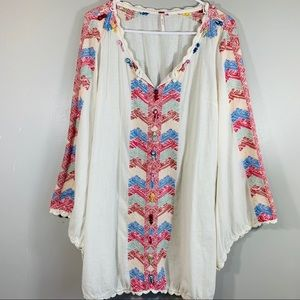 Free People Embroidered Bell Sleeve Tunic Dress